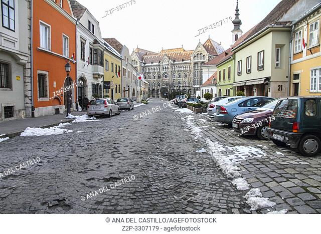 Fortuna street in Castle District, Budapest, leading to the National Archives of Hungary