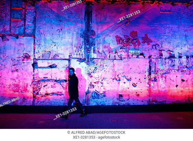 artistic lighting installation, Llum Bcn 19 festival, Poblenou district, Barcelona, Catalonia, Spain
