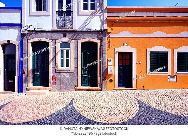 architecture in historic part of Lagos city, Rua de Sao Goncalo de Lagos, Calçada Portuguesa, Algarve, Portugal, Europe