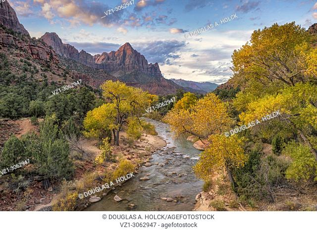 Watchman at Sunrise in fall at Zion National Park Utah
