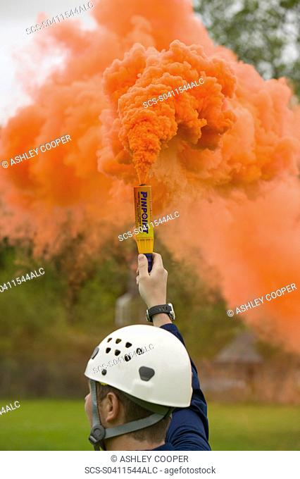 Emergency flare to attract incoming Sea King Helicopter