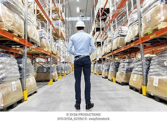 businessman in helmet at warehouse