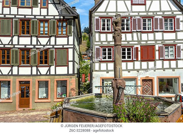 half-timbered houses at the market place, town Schiltach, Black Forest, Germany, historical old town, well with pillar and coat of arms