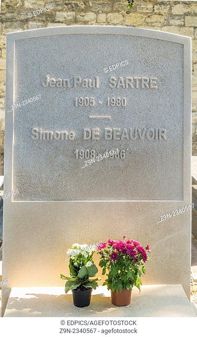 burial site of writers jean paul sartre and simone de beauvoir, montparnasse cemetery, paris, ile de france, france