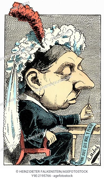 Queen Victoria or Alexandrina Victoria, 1819 - 1901, Queen of the United Kingdom of Great Britain and Ireland, Empress of India, Political caricature, 1882