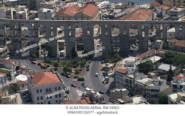 Aerial HD video of an old Equaduct in the middle if Kavala Town, Thrace