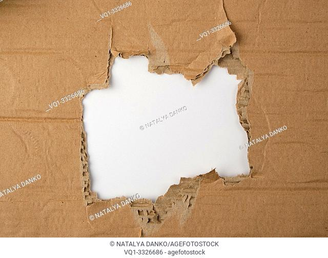 round torn hole in brown paper, white background, close up