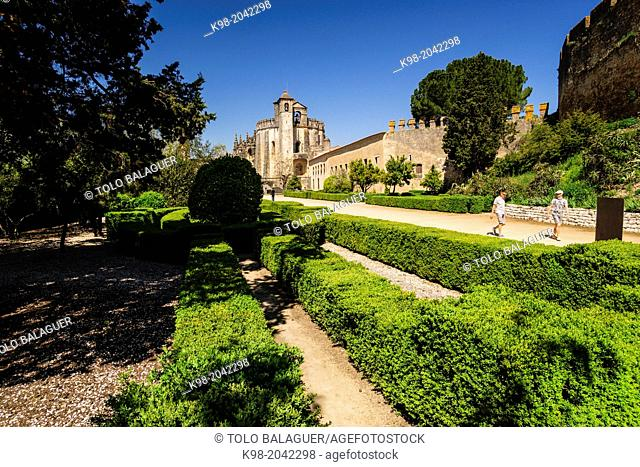 gardens of the convent church of Christ, year 1162, Tomar, District of Santarem, Medio Tejo, region center, Portugal, Europe