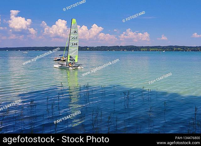 Landkreis Starnberg, Germany August 1st, 2020: Impressions Starnberger See - 2020 Bernried, view of Starnberger See with sailing boat, Fuenfseenland, Bayern