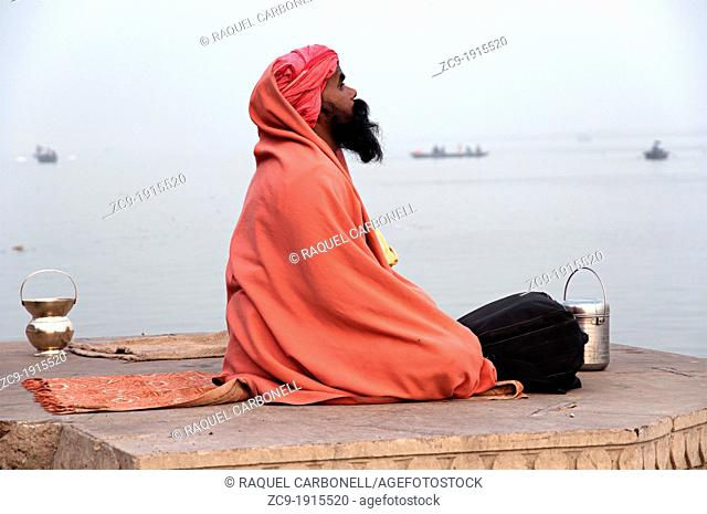 Sadhu on the ghats  Varanasi, Benares, Uttar Pradesh, India