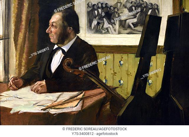 Louis-Marie Pilet, Cellist in the Orchestra of the Paris Opera, 1868-1869, oil on canvas, Edgar Degas (1834-1917), Orsay museum, Paris, France