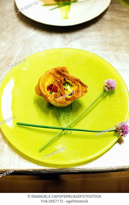 Appetizer decorated with flowers