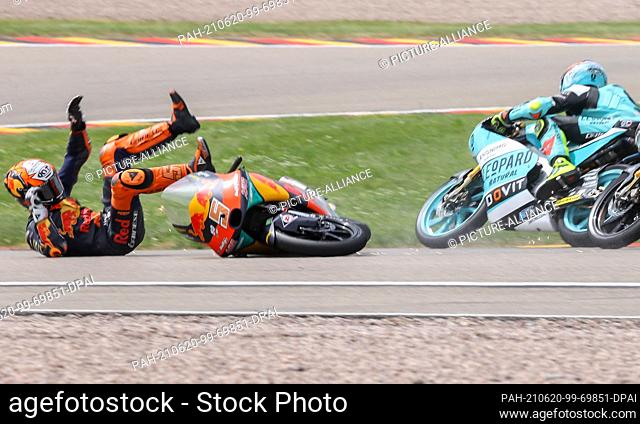 20 June 2021, Saxony, Hohenstein-Ernstthal: Motorsport/Motorcycle, German Grand Prix, Moto3 at the Sachsenring: Rider Jaume Masia from Spain of the Red Bull KTM...