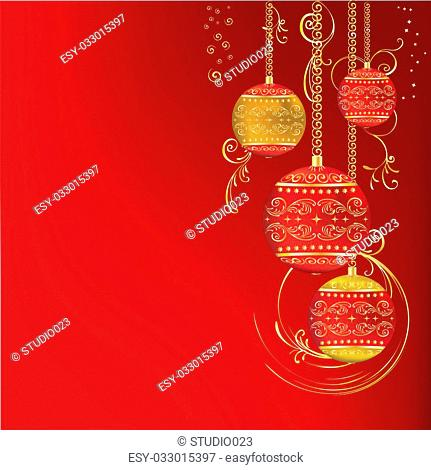Red gold Christmas ornament on a dark red background, Christmas background