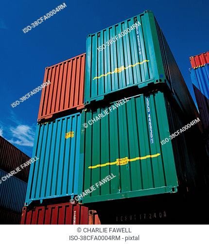 Shipping containers in shipyard