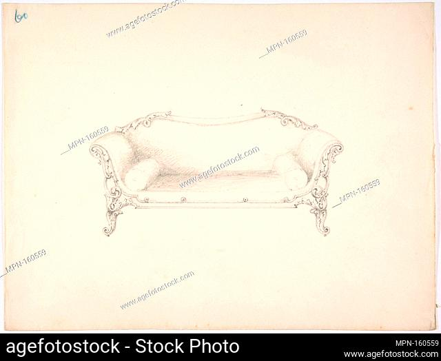 Design for a Sofa with Foliate Ornament. Artist: Anonymous, British, 19th century; Date: early 19th century; Medium: Graphite; Dimensions: sheet: 9 x 11 7/8 in