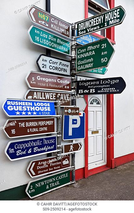 Directional signage at the crossroads in Ballyvaughan Village, Co. Clare, Ireland
