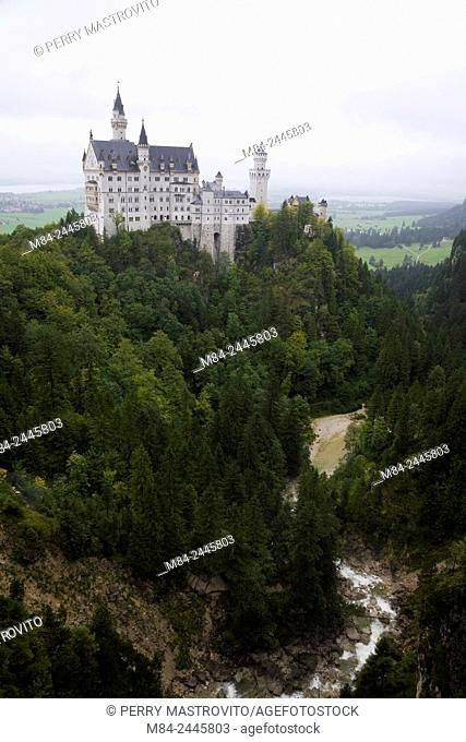 Neuschwanstein Castle built in the Romanesque Revival architectural style by King Ludwig II, Hohenschwangau, Bavaria, Germany
