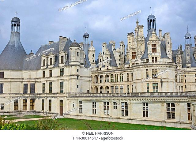 The west facade of the Chateau de Chambord with its amazing ornamental roof, designed to resemble the Constantinople skyline. France