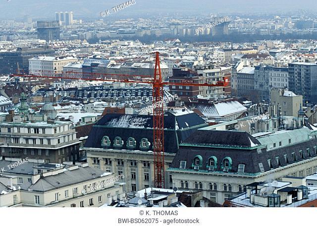 Vienna, view from St. Stephens Cathedral in winter, Austria, Vienna, 1. district, Vienna - St. Stephen's cathedral