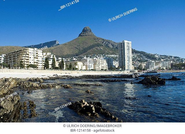 Sea Point is the only high-rise area along the entire Cape Town shoreline, Mt. Lions Head 669 m in the back South Africa