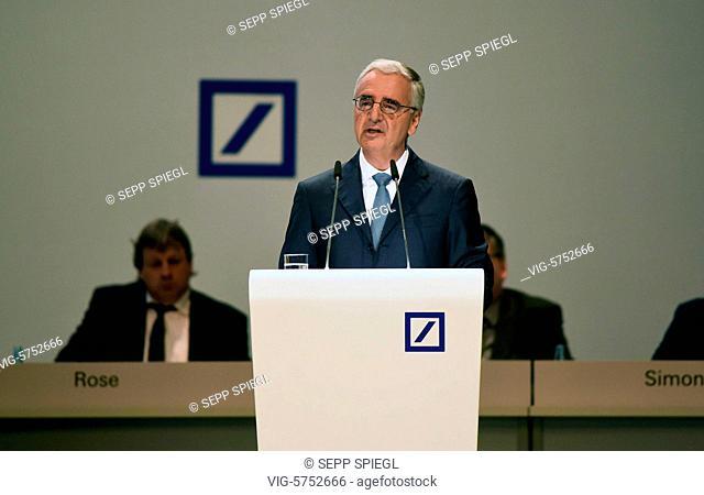 Germany, Frankfurt, 18.05.2017 Aufsichtsratsvorsitzender Paul Achleitner waehrend der Hauptversammlung der Deutsche Bank AG - Frankfurt, , Germany, 18/05/2017