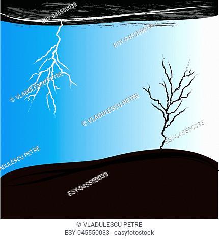 dry tree in storm