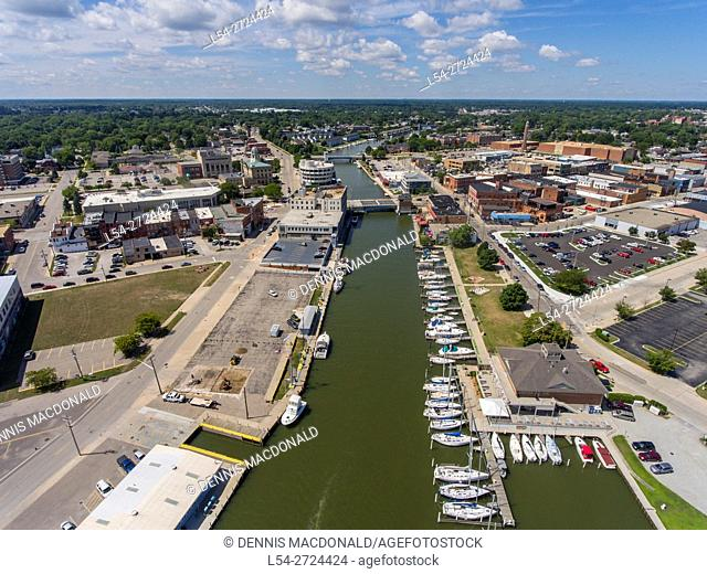 Aerial view looking west of downtown Port Huron Michigan
