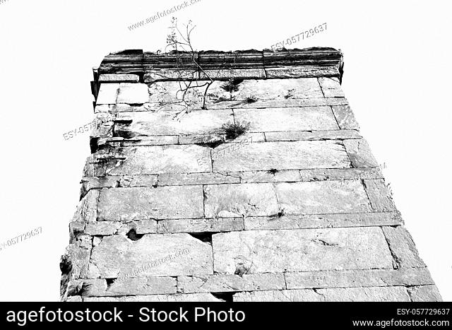 in europe athens acropolis and sky old towert and marble brick