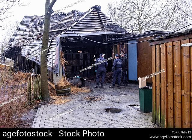Rotterdam, Netherlands. Results and aftermath of a devastating fire which demolished a children's playpark theater/