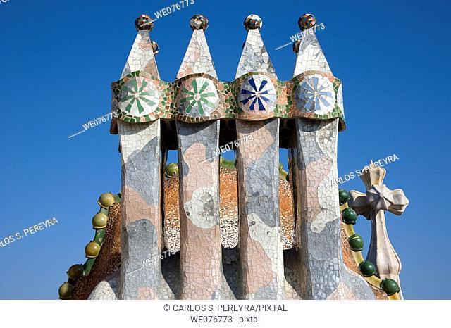 Detail of Casa Batllo by Gaudi in Passeig de Gracia, Barcelona, Catalonia, Spain