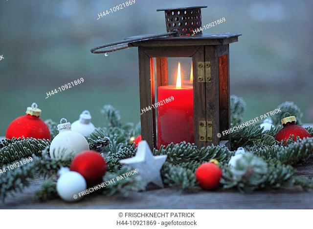 Advent, deco, decoration, detail, ice, ice flower, frost, garden, glass, windowpane, wood, wood lantern, wooden lantern, candle, candles, candle light