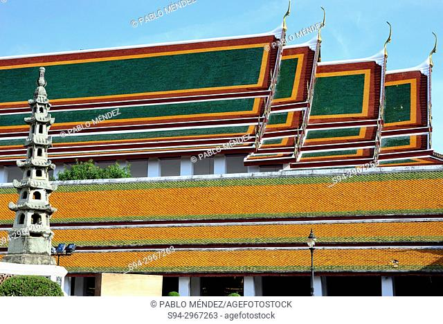 Rooves of Wat Ratchabophit, Bangkok, Thailand
