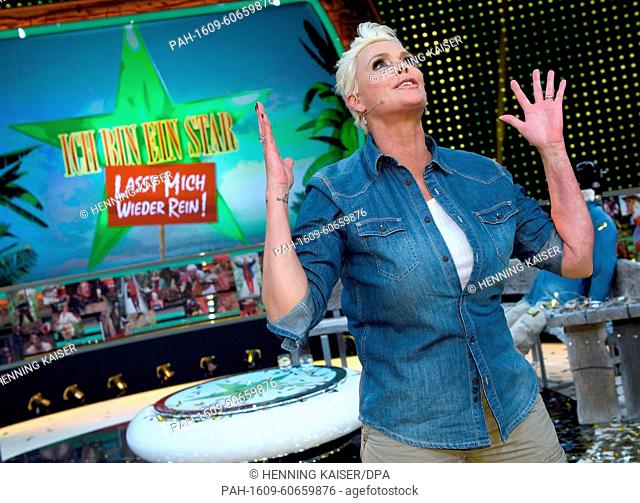 Danish actress Brigitte Nielsen cheers as she takes part in the television show 'Ich bin ein Star - Lasst mich wieder rein!' (lit