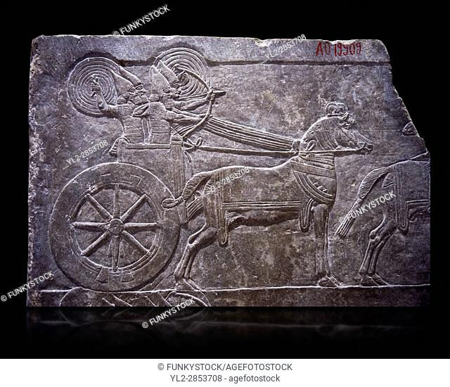 Stone relief sculptured panel of aa Assyrian Chariot. From the palace of Ashurnasirpal II room VI/T1, Nineveh, third quarter of the 8th century BC