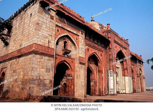 facade of Qila i Kuhna Mosque, Delhi, India, Asia