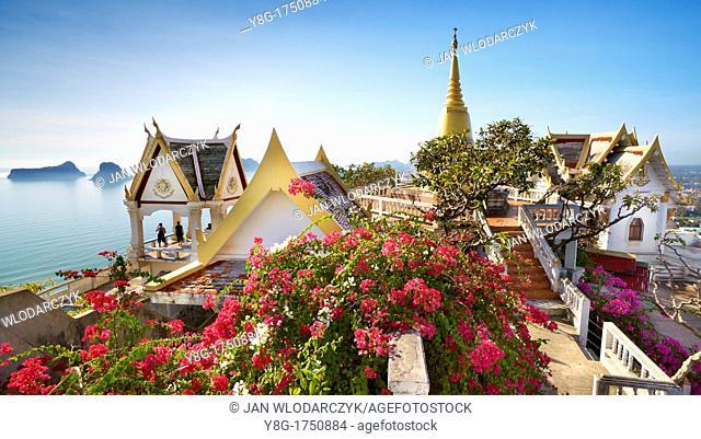 Thailand - Buddhist small monastery on the Khao Chong Krachok mountain, located near Prachuap city