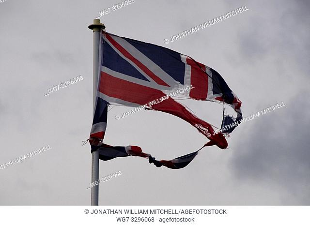 UK Bedfordshire -- 13 Feb 2014 -- A Union Jack flag in tatters after the big storm that caused widespread damage across the British Isles on Wednesday 12 Feb...