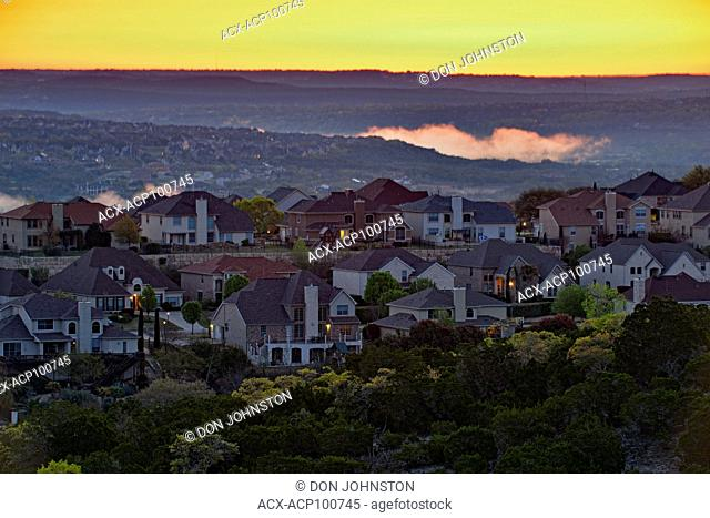 Overlooking suburban Austin Hill Country at dawn in spring, Austin, Texas, USA