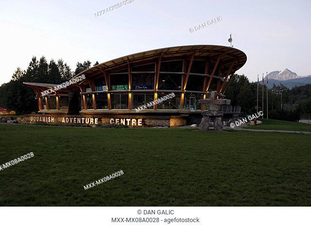 Squamish Adventure Centre at dusk, Squamish, British Columbia, Canada