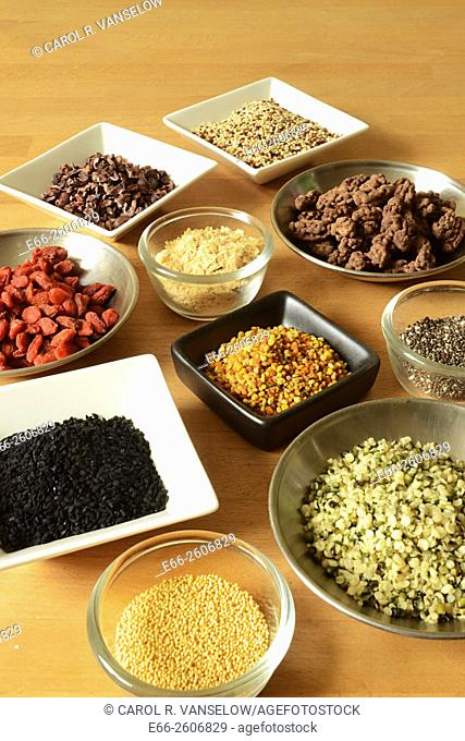 Assorted small bowls containg super foods