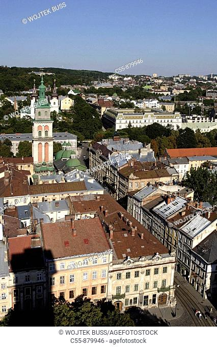 Lviv,Lvov,cityscape from Town Hall tower,Volosk orthodox church, Korniakta Tower,Western Ukraine