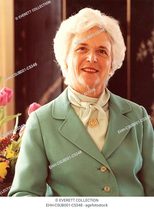 Barbara Bush, wife of Vice President George H.W. Bush during the Ronald Reagan Administration. Official portrait for the First Term from Jan