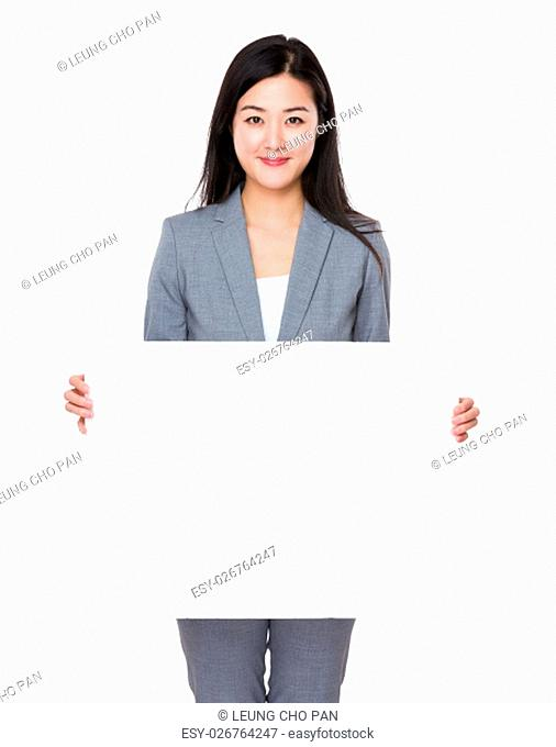 Asian businesswoman show with white banner