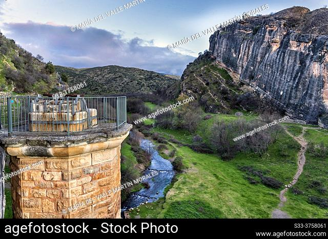 River Lozoya from The Ponton de la Oliva Dam. Patones. Madrid. Spain. Europe