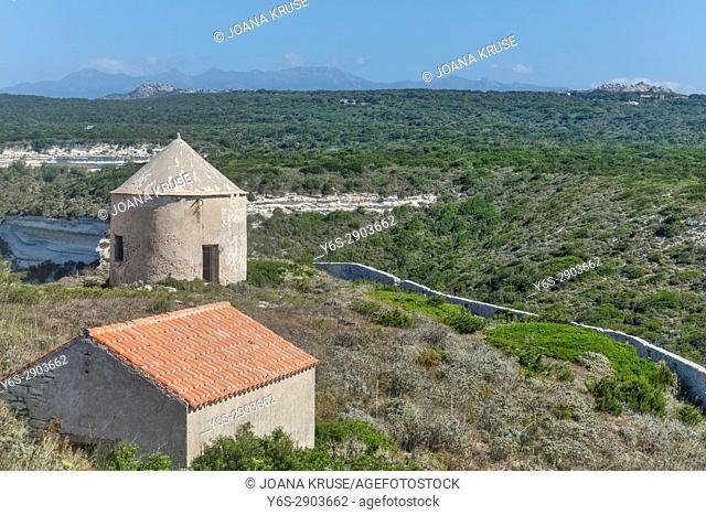 old mill, Ville Haute, Bonifacio, Corsica, France