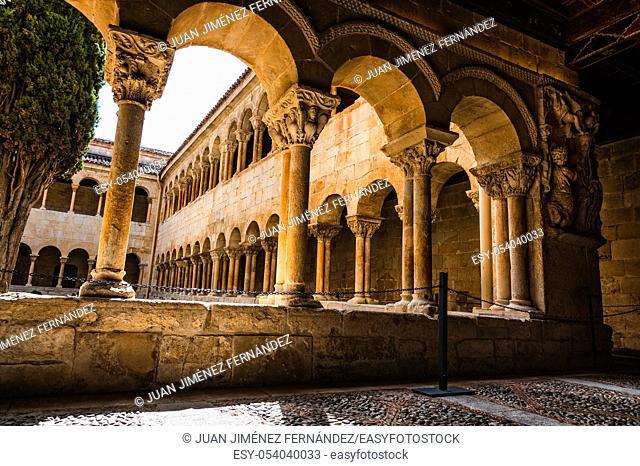 Santo Domingo de Silos, Spain - April 16, 2019: The cloister of Santo Domingo de Silos Abbey. It is a Benedictine monastery and a masterpiece of Romanesque art