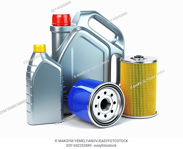 Car oil filter and motor oil canisters isolated on white background. Auto service and car maintenance concept. 3d illustration