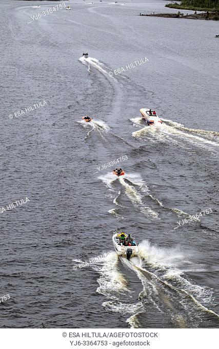 Small speed boats speeding along lake Saimaa, Lappeenranta Finland
