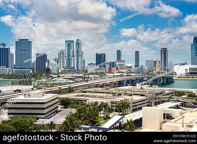 Downtown of Miami Skyline viewed from Dodge Island with Cruise terminal at Biscayne Bay in Miami, Florida, USA